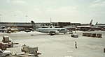 Frontier 737-300 and United widebodies @ LAX (32556877192).jpg