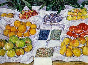 Homme au bain (painting) - Image: G. Caillebotte Fruits sur un étalage