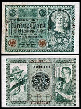 German Papiermark - Image: GER 68 Reichsbanknote 50 Mark (1920)