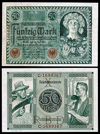 German Papiermark - Image: GER 68 Reichsbanknote 50 Mark (1920)