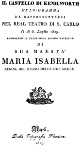 Gaetano Donizetti - Il castello di Kenilworth - title page of the libretto - Naples 1829.png