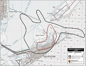 Battle of Galveston - Map of Galveston Battlefield core and study areas by the American Battlefield Protection Program.