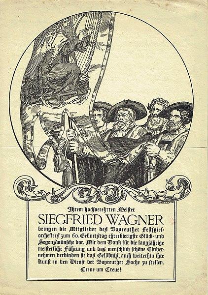File:Geburtstagskarte Siegfried Wagner 1929 jpg - Wikimedia