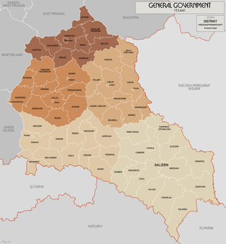 Administrative division of Polish territories during World War II - Administrative map of the General Government, August 1941