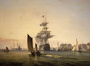 Arthur Cumming (Royal Navy officer) - HMS Britannia painted in 1835
