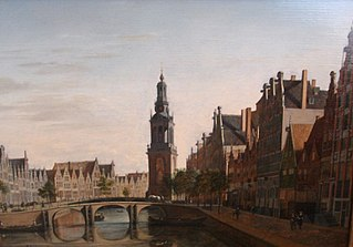 View of the Singel in Amsterdam with the Jan Rodenpoortstoren, Amsterdam