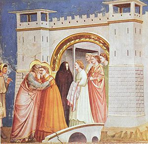 Golden Gate (Jerusalem) - Giotto di Bondone, Legend of St Joachim, Meeting at the Golden Gate, 1305 is an early depiction of the scene.