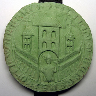 "Warburg - Plaster stamp of the seal of Warburg New Town under the constitutional document ""Der Grote Breff"" from 1436"