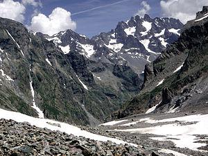 Glacier Noir - On the Glacier Noir, with the Montagne des Agneaux (background)