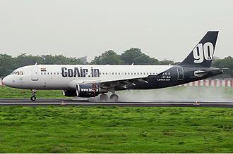 Sardar Vallabhbhai Patel International Airport - An arriving GoAir Airbus A320