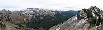 Goat Rocks - Goat Ridge panorama with Old Snowy Mountain on the left obscured by cloud cover.