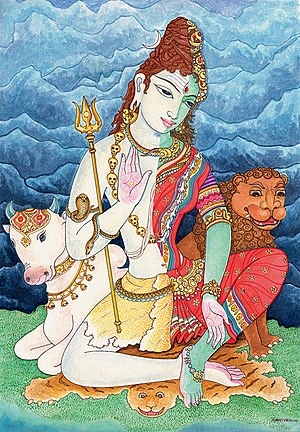 Ardhanarishvara - A seated Ardhanarishvara with both the vahanas