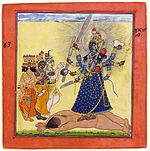 Goddess Bhadrakali, adored by the Gods. Basholi, ca. 1660-70