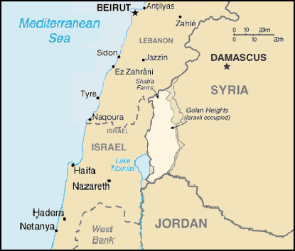 Location of the Golan Heights