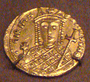 Irene of Athens - Gold solidus of Irene, 797–802, Constantinople.