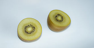 Kiwifruit - A sliced golden kiwifruit