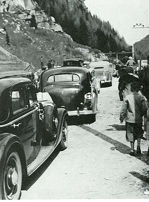 Gotthard Base Tunnel - Cars transport on trains in the 1930s