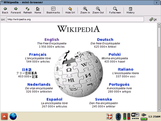 GPE Palmtop Environment - Wikipedia viewed with the GPE Mini-Browser
