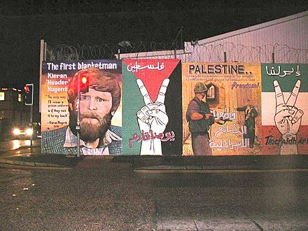 A republican mural in Belfast showing support for Palestine Graffiti on Belfast Walls3.jpg