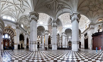 Granada Cathedral - Panoramatic view of the main nave.