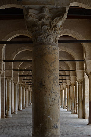 Symmetry - Symmetric arcades of a portico in the Great Mosque of Kairouan also called the Mosque of Uqba, in Tunisia.