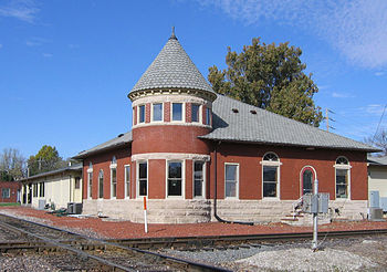 Restored Rock Island Line station in Grinnell,...