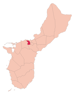 Location of Agana Heights within the Territory of Guam.