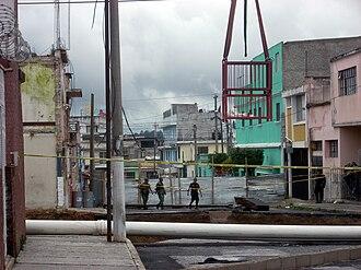 2010 Guatemala City sinkhole - The 2010 sinkhole in Zona 2