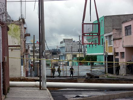 The 2010 sinkhole in Zona 2 Guatemala City 2010 sinkhole 1.jpg