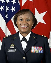 375bdd37 Lieutenant General Gwendolyn Bingham wearing the Quartermaster Corps RDI on  her Army Service Uniform.