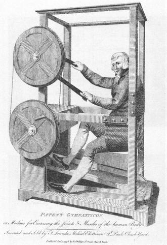 Gymnasticon - Engraving of the Gymnasticon in action, 1798