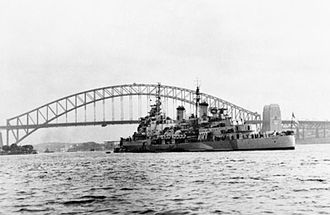 HMS Belfast (C35) - Belfast at anchor in Sydney Harbour, August 1945.
