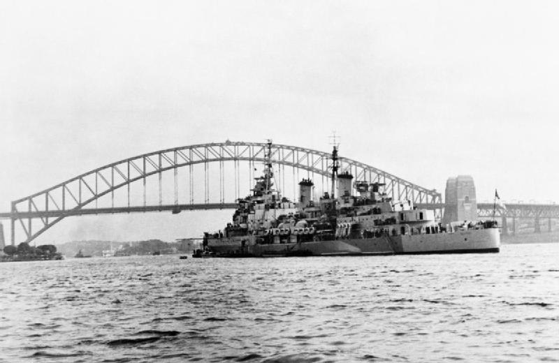 HMS BELFAST at anchor in Sydney harbour, August 1945. ABS694