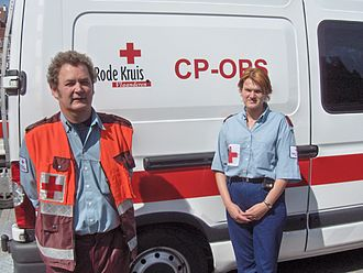 Emblems of the International Red Cross and Red Crescent Movement - Belgian Red Cross volunteers