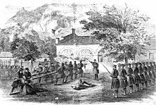 sketch of two columns of Marines watching the brick armory building at Harpers Ferry with bayonets mounted