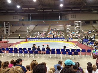 Hale Arena - Interior of Hale Arena from East bleachers facing west.