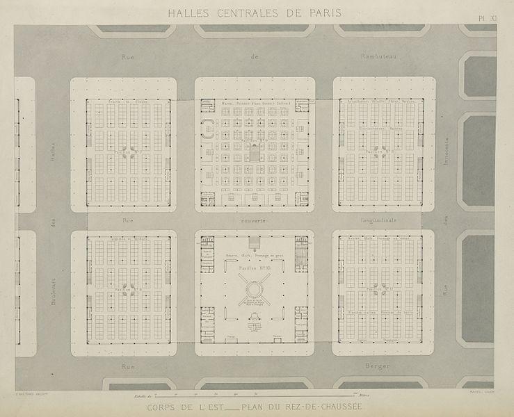 file halles centrales de paris corpes de l 39 est plan du rez de chauss. Black Bedroom Furniture Sets. Home Design Ideas