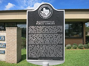 Texas Historical Commission marker at library