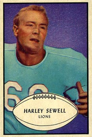 Harley Sewell - Sewell on a 1953 Bowman football card