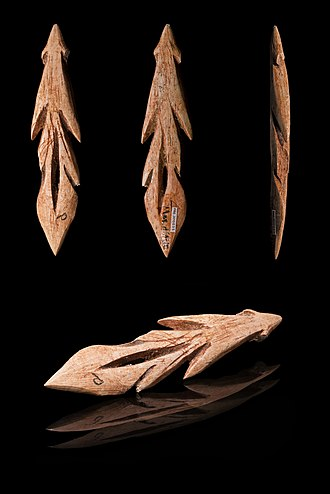 Muséum de Toulouse - Multiple view of bone Azilian harpoon head, from about 10,000 years ago