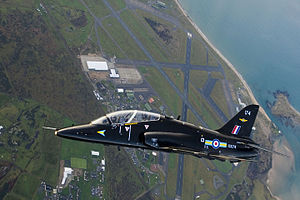 RAF Valley - A RAF Hawk T1 flying over RAF Valley.
