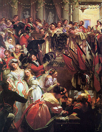Duchess of Richmond's ball - Before Waterloo (1868), by Henry O'Neil, depicting officers departing from the Duchess of Richmond's ball