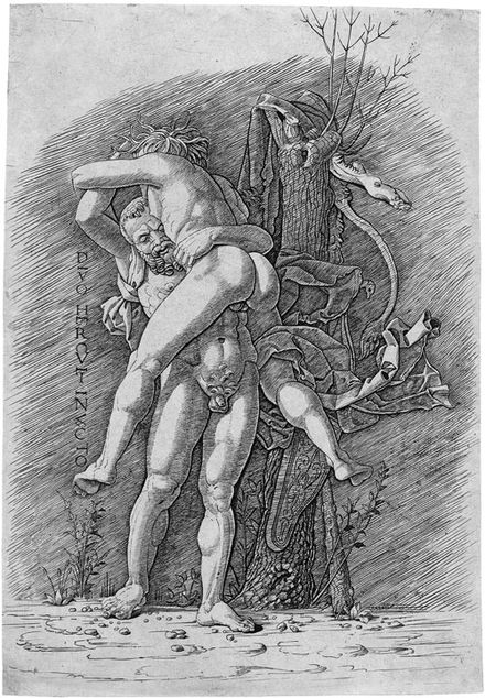 """Hercules and Antaeus"", engraving, 1490–1500, School of Mantegna Herkules und Antäus (Mantegna).jpg"