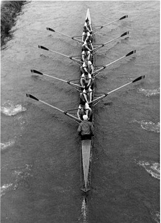 Hertford College Boat Club - Hertford College's 1954 1st Torpid chasing St. Catz