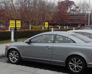 Carsharing - Hertz on Demand vehicles in designated parking area in Park Ridge, New Jersey