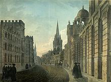 Dipinto del 1790 raffigurante la High Street con alcuni college dell'Università di Oxford e in fondo alla curva i campanili delle chiese di St. Mary e All Saints.