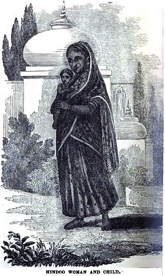 Infanticide - Hindu Woman carrying her child to be drowned in the River Ganges at Bengal (1852)