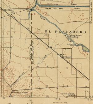 Mountain House, Alameda County, California - Southeast portion of the U.S. Geological Survey 1916 Topographical Map of the Byron Quadrangle, California, showing the historic Mountain Home on Mountain House Creek.