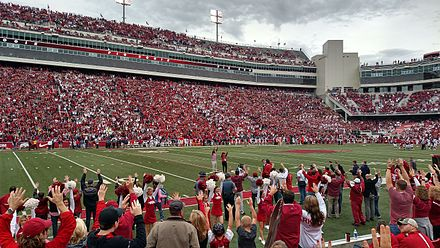 Madre Hill leads a hog call in Razorback Stadium Hog call.jpg