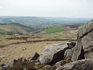 Hope Valley, Derbyshire - Looking over Hathersage from Higger Tor.